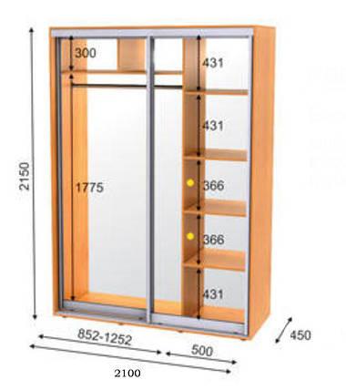 Шкаф-купе 2-х дверный Эко-1 2100х450х2150 мм, фото 2