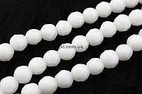Агат белый прессованный бусины 6 мм, ~78 шт / нить, натуральные камни, на нитке, заказ делайте через сайт в описание товара