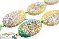 Агат морозный бусины 35*24 мм, ~12 шт / нить, натуральные камни, на нитке, желтый с зеленым, заказ делайте через сайт в описание товара