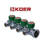 """Koer 1122-4 1""""x4 WAYS коллектор вентильный с фитингом"""