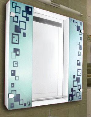 Зеркало с шкафчиком для ванной комнаты 800х800 мм ШК816 - Ялинка в Харькове