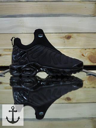 Мужские кроссовки Nike TN Slip полностью черные топ реплика, фото 2