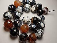 Агат вены дракона бусины 16 мм, натуральные камни, поштучно, черный с коричневым с белыми пятнами, заказ делайте через сайт в описание товара