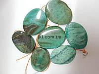 Агат вены дракона бусины 41*31 мм, натуральные камни,  поштучно, мятный с коричневым, заказ делайте через сайт в описание товара