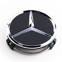 Колпачки для литых дисков Mercedes Black 75мм