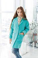 Кашемировое однотонное пальто для девочки с английским воротником и накладными карманами