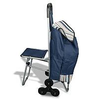 """Сумка-тележка со стулом (6 оборотных колес) - """"кравчучка"""", цвет: синий"""