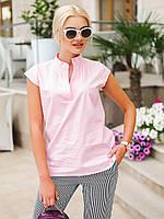 Коттоновая блуза прямого покроя- розовый.