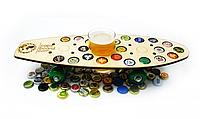 Поднос-столик для закусок для одного бокала CAPS DRIVE Скейт в виде пивной карты 22 отверстия