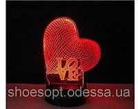 3D светильник Сердце Любовь, 3 цвета, фото 1