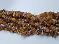 Янтарь необработанный бусины 5-9 мм, длина нитки 43-44 см, натуральные камни, крошка, желтые, заказ делайте через сайт в описание товара