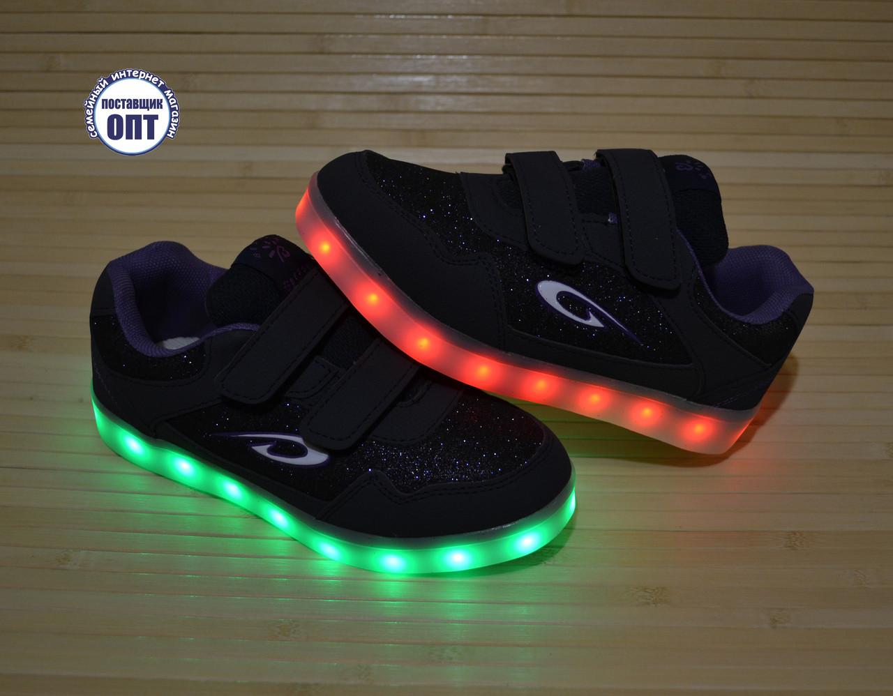 Кроссовки со светящей LED подошвой зарядка USB кабелем для девочки
