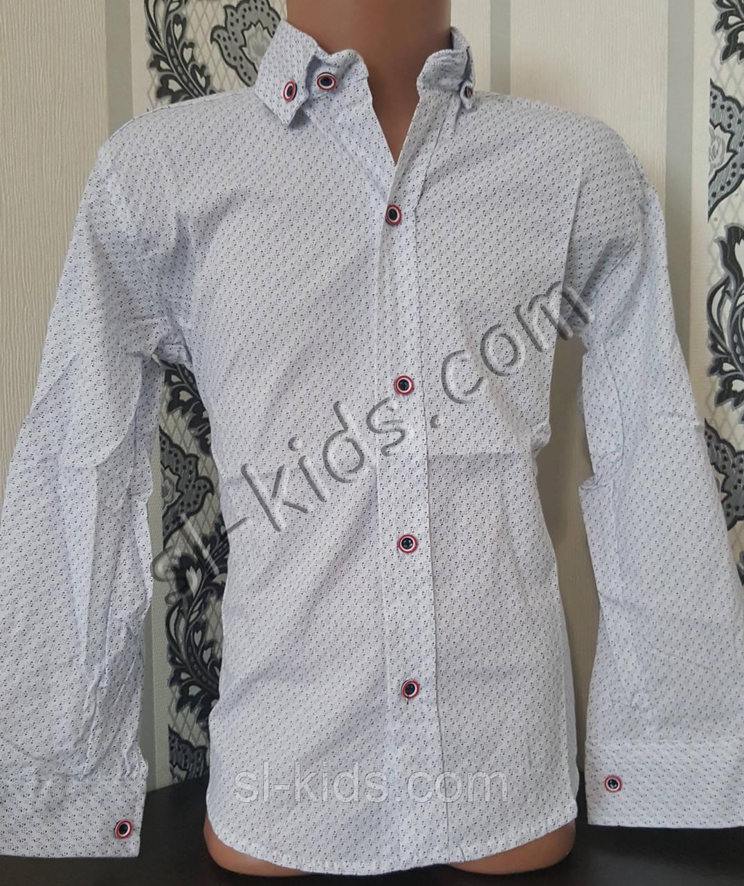 Стильная стрейчевая рубашка для мальчика 116-152 см (розн) (БГ01) (пр. Турция)