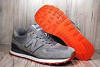 New Balance 574 серые кроссовки натуральный нубук, фото 1