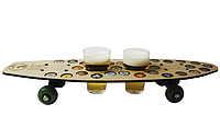 Поднос-столик для закусок для двух бокалов CAPS DRIVE Скейт в виде пивной карты 29 отверстий