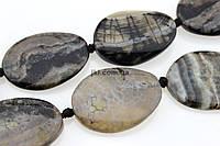 Агат бусины 40-43*30 мм, ~11 шт / нить, натуральные камни, на нитке, серый с черными разводами, заказ делайте через сайт в описание товара