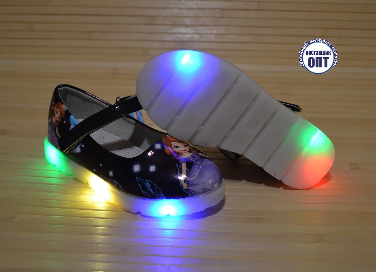 43b21e6a9001b2 ... Детские туфли для девочки со светящейся подошвой 26-30 принцесса София  4 ...