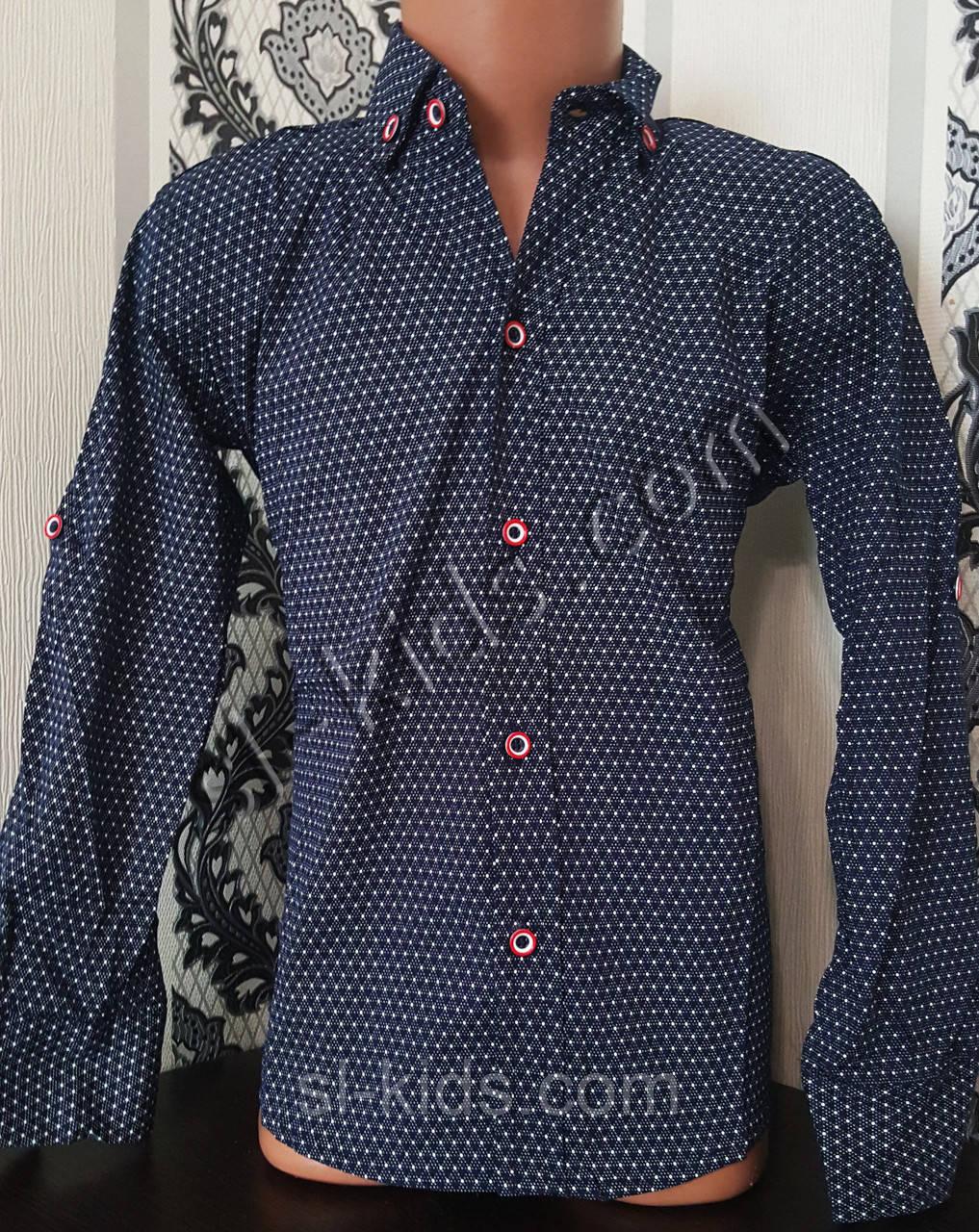 Стильная стрейчевая рубашка для мальчика 116-152 см (розн) (ТС02) (пр. Турция)