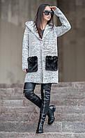 Женский вязаный кардиган букле с меховыми карманами Monreal (разные цвета), фото 1