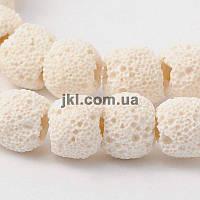 Коралл губка бусины 10 мм, натуральные камни, поштучно, молочный, заказ делайте через сайт в описание товара