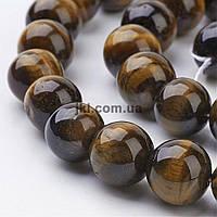 Тигровый глаз бусины 12 мм, ~44 шт / нить, натуральные камни, на нитке, коричневые, заказ делайте через сайт в описание товара