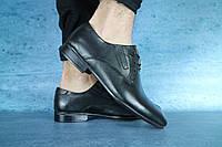 Мужские туфли с нат. кожи YDG Черные 10718 р. 41 42 43, фото 1