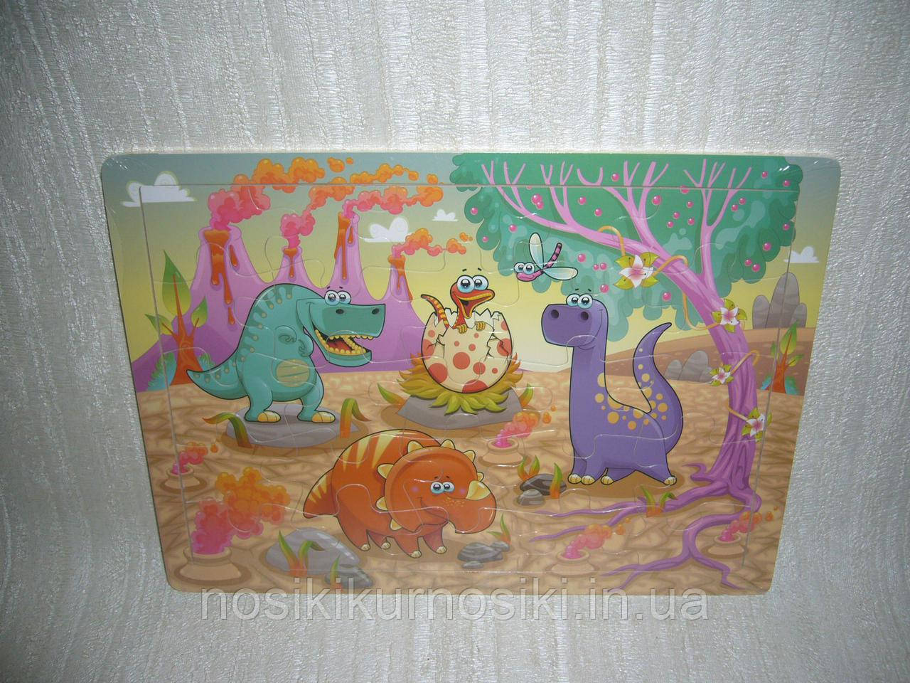 Деревянные игрушки пазлы вкладыши без повтора картинки Динозавры