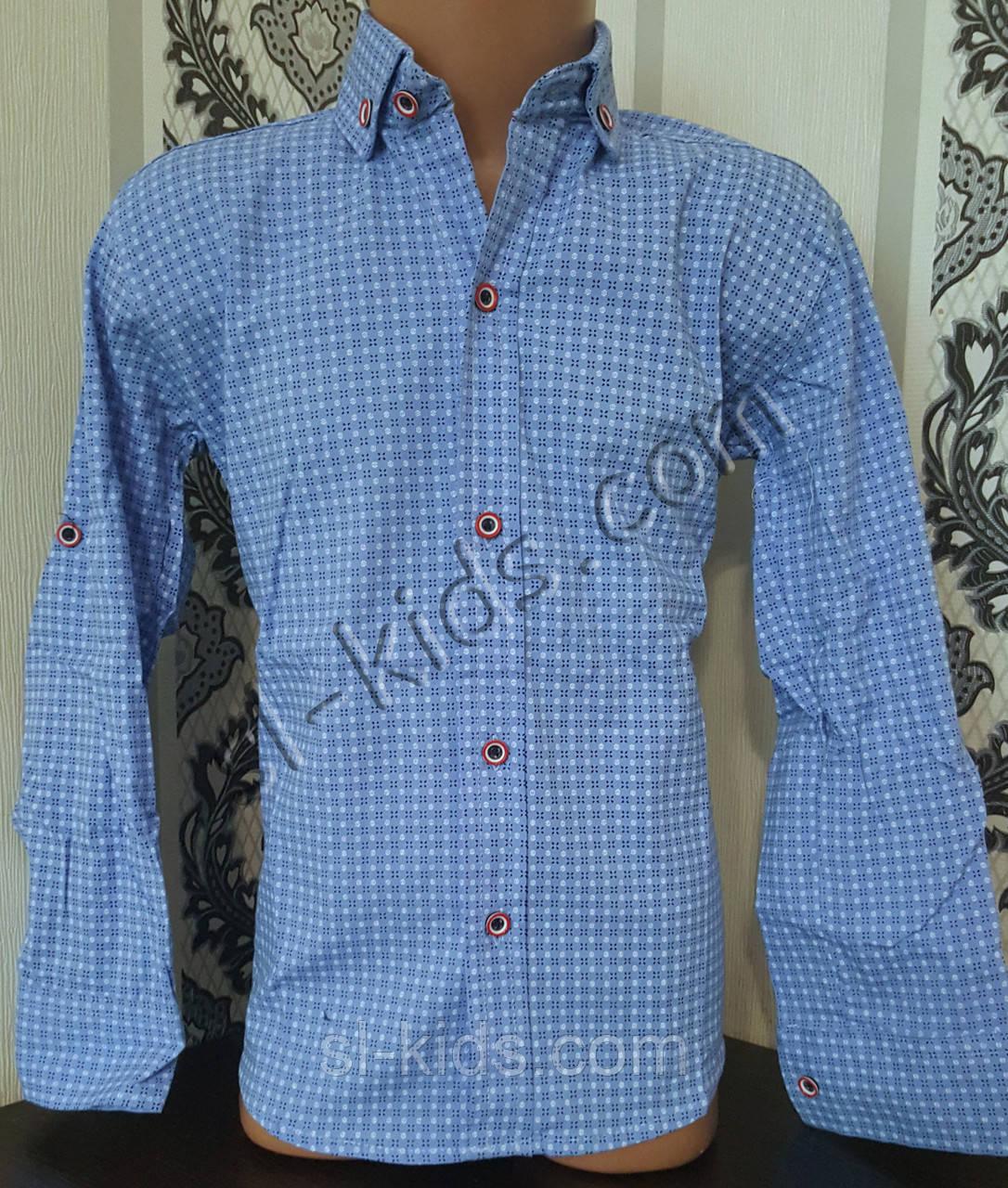 Стильная стрейчевая рубашка для мальчика 116-152 см (розн) (Г03) (пр. Турция)