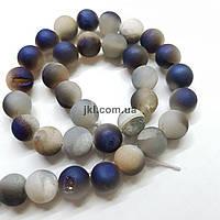 Кварц бусины друзы 10 мм, шлифованные, натуральные камни, поштучно, серый с фиолетовым, заказ делайте через сайт в описание товара