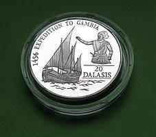 Гамбия 20 даласи 1993 г. Парусник /корабль . Серебро 31,47 гр.