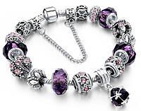 Женский браслет Sharm Christal в стиле PANDORA - Purple