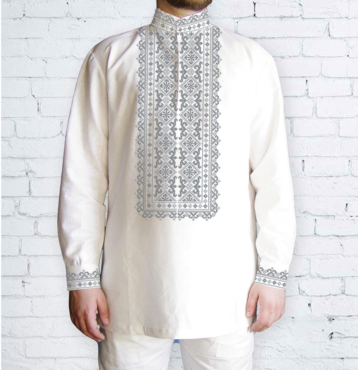 Заготовка чоловічої сорочки та вишиванки для вишивки чи вишивання бісером Бисерок «553 Сіра» (Ч-553с )