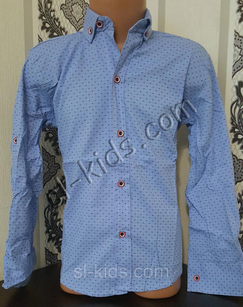 Стильная стрейчевая рубашка для мальчика 116-152 см (розн) (Г04) (пр. Турция)