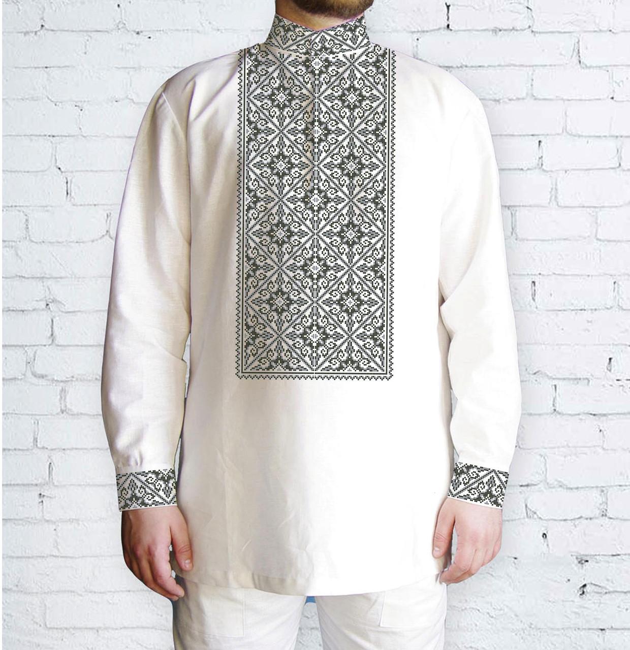 Заготовка чоловічої сорочки та вишиванки для вишивки чи вишивання бісером Бисерок «540 Сіра» (Ч-540с)