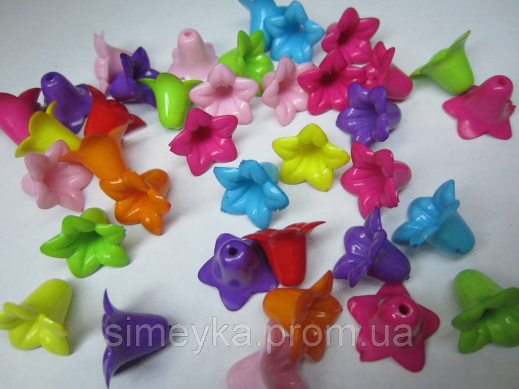 Цветок-конус, бусина акриловая, диаметр цветка 17 мм, длина 14 мм, разные цвета