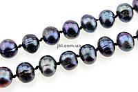 Жемчуг речной класс B бусины 8-10*10-13 мм, ~36 шт / нить, натуральные камни, на нитке, черно-серебристый, заказ делайте через сайт в описание товара