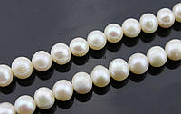 Жемчуг речной класс А бусины 9-10 мм, натуральные камни, поштучно, белый