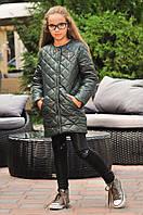 Красивая демисезонная девичья куртка из плащевки  на синтепоне