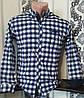 Стильная коттоновая рубашка для мальчика 7-12 лет(розн) (клетка синяя) (пр. Турция)