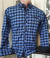 Стильная коттоновая рубашка для мальчика 7-12 лет(розн) (клетка ярко синяя) (пр. Турция)