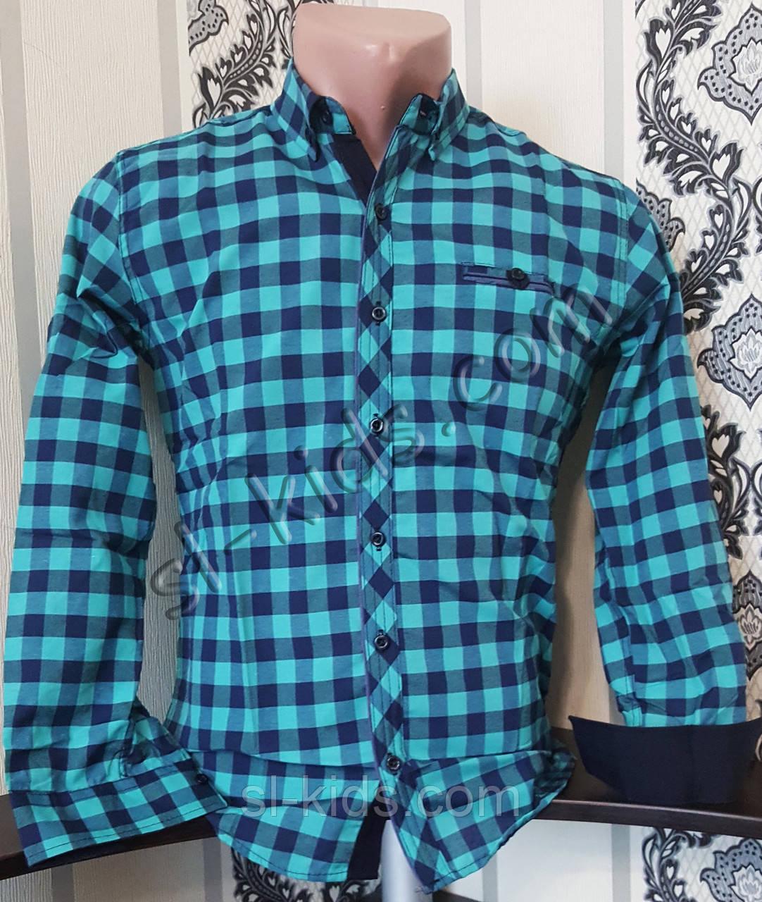 Стильная коттоновая рубашка для мальчика 7-12 лет(розн) (клетка бирюза) (пр. Турция)