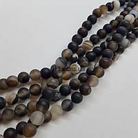 Агат морозный бусины 6 мм, натуральные камни, поштучно, черный с бежевым и коричневым, заказ делайте через сайт в описание товара