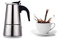 Гейзерная кофеварка из нержавеющей стали 300 мл, 6 порции