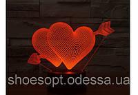 3D светильник Сердце Стрела Амура