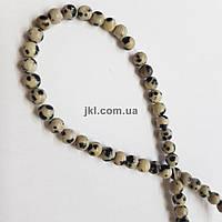 Яшма далматинец бусины 4 мм, натуральные камни, поштучно, черный с белым, заказ делайте через сайт в описание товара