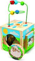 Развивающая и обучающая игрушка - Сортер Лабиринт Универсальный куб Ферма