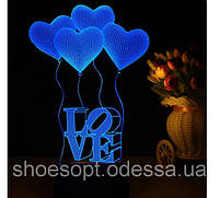 3D светильник Сердца Любовь, 3 цвета