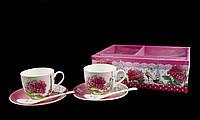 Подарочный Фарфоровый Набор 6 Предметов: 2 Чашки + 2 Блюдца + 2 Ложки, фото 1