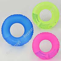 """Круг надувной """"Неон"""" 3 цвета, диаметр 61 см, в пакете (ОПТОМ) 21559"""
