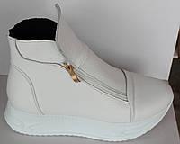 Белые женские ботинки кожаные на платформе, женская обувь кожа от производителя модель НП1515-4-1